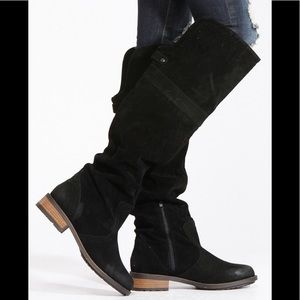 Qupid Black Knee High Suede Riding Boots